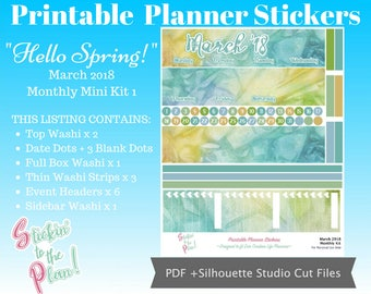 Hello Spring   March '18 Monthly Mini Kit 1   Planner Stickers   For EC vertical Life Planner   Printable Planner Stickers   Free Cut Lines