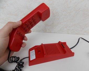 Vintage working Buttons Telephone Red phone Collectible Home Decor Office Phone Old Dial Desk Phone