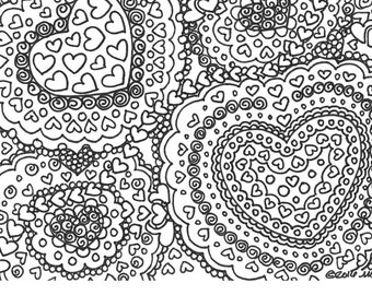 The hearts have it printable adult coloring page printable for Abstract heart coloring pages