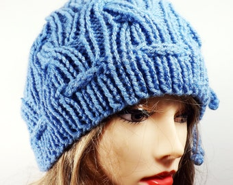 Cabled Beanie Hat with Ties Robins Egg Blue