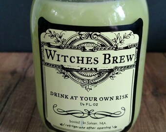 """Light green """"Witches Brew"""" 100% soy candle in Bartlett Pear scent"""