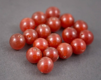 Set of 4 pcs - round beads • carnelians, agates • orange • 16mm