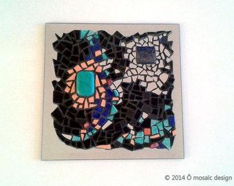 "Painting ""Connection"" mosaic mirror - lapis lazuli, turquoise, briare enamel backing"