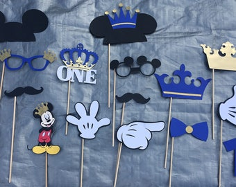 Mickey Mouse Prince Photo Props / Mickey Prince Photo Booth Props / Prince Photo Props / Royal blue and gold Prince Photo props