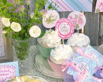 "Tea Party Cupcake Toppers Printable: 2"" Party Circles Decoration -- Baby Shower, Bridal Shower, Birthday -- Classic Vintage Shabby Chic"
