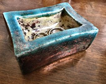 Raku ceramic ring holder box box in raku jewelry holder