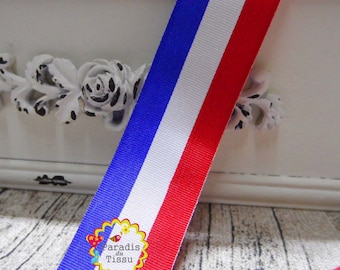 5 x 2.5 cm tricolor Ribbon stripe m red white blue french flag