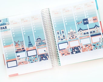 Travel the World: Paris Planner Stickers Weekly Kit (CREATE A SCENE!) - For use with Erin Condren Vertical Lifeplanner