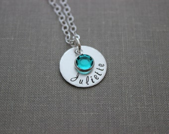 Sterling Silver Single Name Disc necklace with Swarovski Crystal Birthstone, Hand Stamped, Mommy Jewelry, Customized  Any name gift for her