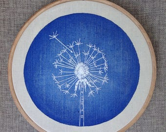 Embroidery white dandelion on blue watercolor background