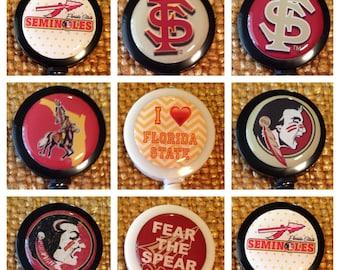 Florida State University Seminoles ID Badge Name Tag Holder Retractable Reel Perfect For Nurse, RN, CNA, Teacher, Billard Player, Sports