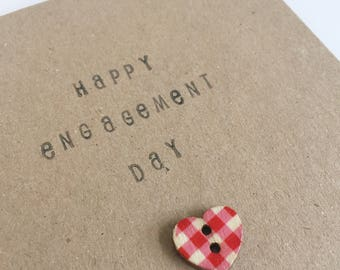 Happy Engagement Day - Heart Button Card - Celebration - Snail Mail