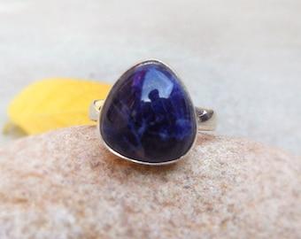 Natural Blue Sodalite Sterling Silver Ring size 8.5 Sodalite Ring Teardrop gemstones ring bezel ring Blue Stone Ring Boho Rings Gift ring
