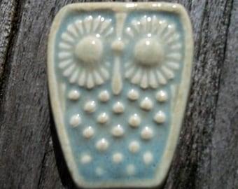 Ceramic Seafoam Blue Baby Owl