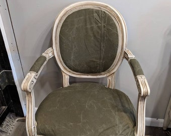 Painted furniture, Upholstered Chair. chalk paint, Shabby Chic, Cottage Style, Bohemian Upcycled  in military material. Shipping is not Free
