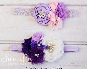 Lace Vintage - Inspired Purple Headband..White Lavender Flower girl Headband..Baptism Gift...Baby Headband..Cake Smash Headband