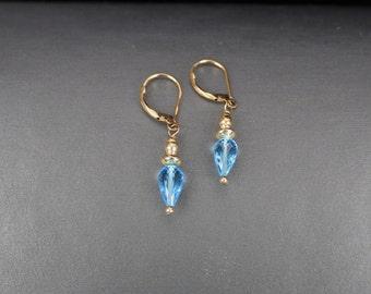 Blue topaz gold filled drop earrings