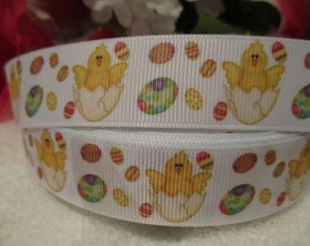 "3 Yards of 7/8"" Easter Chick & Eggs Grosgrain Printed Ribbon"