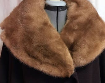 1950s Mink Collar Chocolate Brown Coat Size L