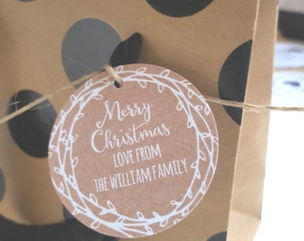 Personalised Rustic Merry Christmas Gift Tags x 10 - GTXMAS16