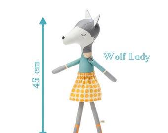 Wolf Lady - Plushie Stuffed Toy - Wolf Softie for Girl - Woodland Animal Doll - rag doll