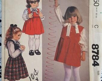 1983 Vintage Girls Jumper Vest Blouse Pattern McCalls 8784 Size 6 NEW/UNCUT