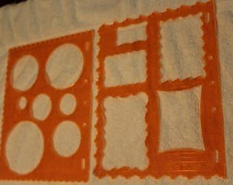 Free Shipping!  2 Fiskars Stencils - Circles - Scallop Edge #4850 and Frames - Deckle Edge #4859 - RC