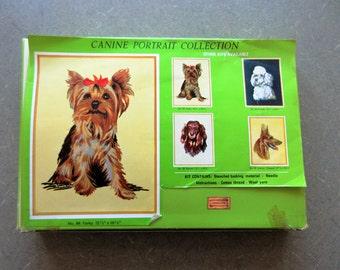Vintage Needlepoint Kit, Yorkie Dog Needlepoint, Yorky Stitchery Kit, Canine Portrait Kit, Made in Germany, Yorkie Needlepoint Stitchery