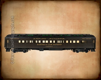 Vintage Train Print Personalized Wedding Gift Customized Railroad Names Photo Anniversary Valentines Invitation  pp82