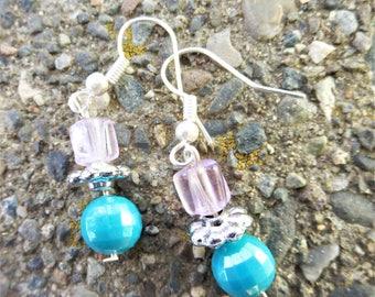 Purple/Blue Stacked Bead Earrings