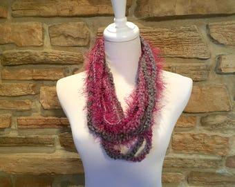 Gray and magenta  scarf, chain scarf, fashion scarf, art scarf, multi medium scarf