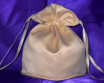 Gold satin dolly bag. Ribbon drawstring, wrist purse, wedding bag for bride/bridesmaid Bridal UK Seller