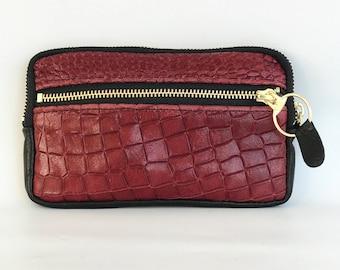 Leather wallet - croc embossed cow hide