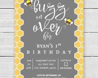 Bumble Bee // 1st Birthday // Digital Download // 4x6  [Girl, Boy, Custom]