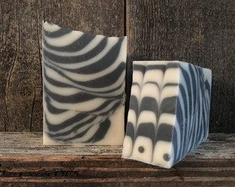 Zebréphant!  Plain is beautiful!  Unscented bastille soap with activated charcoal. 12 BARS!