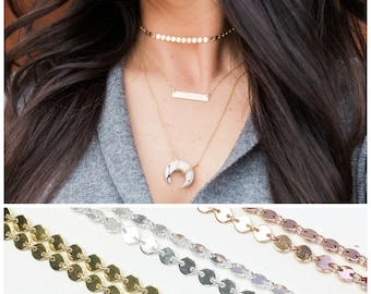 Choker Necklace, Sequin Choker, Dainty Choker Necklace, Shimmering Choker, Tatto Choker, Silver Rose or Gold, The Silver Wren