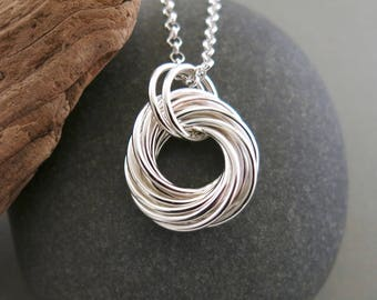 "NEW:  Large sterling silver love knot pendant with 30"" sterling rolo chain"