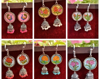 Vintage Hand painted Silver jhumka stone earrings with jhumki in bottom precious hand art indian ethnic work jewellery for ethnic clothing