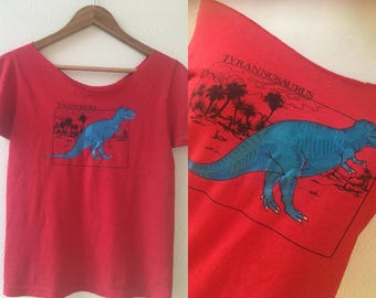 vintage 80's GLOW IN the DARK dinosaur t-shirt - small, red, T Rex