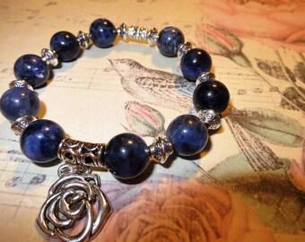 Bracelet from sodalite. Bracelet made of natural stones.