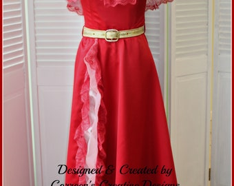 Latina Princess Dress - Red Latina Style Dress - Princess Elaina Cosplay Costume - Travel Dress - Princess Party - Professional Party Dress