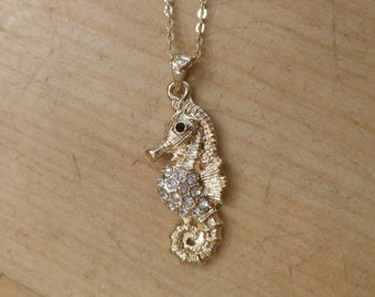 Gold Rhinestone Seahorse Necklace - Seahorse Necklace - Coastal Jewelry - Nautical Jewelry - Seahorse Jewelry