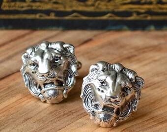 Lion Boyfriend Gift, Silver lion Cufflinks, Lion Fathers Gift, Lion Cufflinks,  Lion Cuff Links, Leo Cufflinks