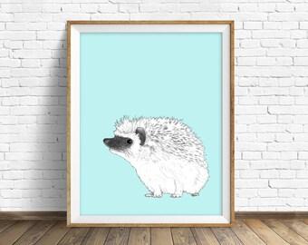 hedgehog, drawing, wall art, large wall art, nursery art, kids room, kids art, art prints for kids, blue, gray, home decor, modern decor