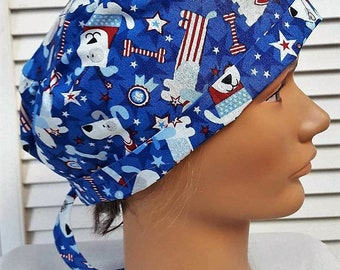Patriotic Fourth of July Sparkle Dogs - Adjustable, Fold Up Scrub Hat