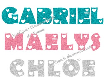 Applied fusible personalized glitter name writing flex hearts