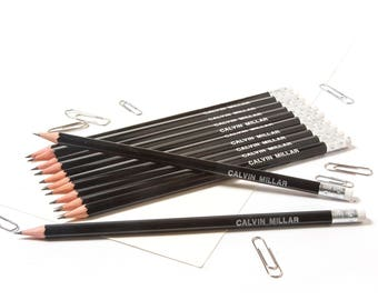 High Quality Personalised Pencils -Printed with Name - JET BLACK (plus other colours)