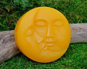 "Moon soap - ""Harvest"" - harvest moon - deep golden marigold olive oil soap, hand-painted detail"