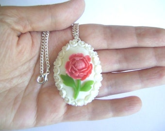 Coral Pink Peony Necklace. Vintage Style Handmade Clay Necklace