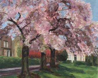 Painting, blossom trees, oil painting artwork.